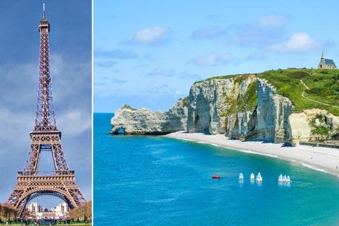 Reiseziele für Urlaub in Frankreich: Eifelturm in Paris und die Normandie
