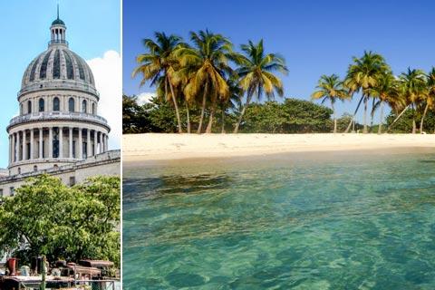 Reiseziele für Urlaub auf Kuba - Capitol in Havanna und Strand