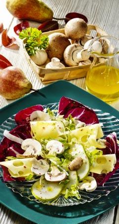 Pilzsalat mit Emmentaler