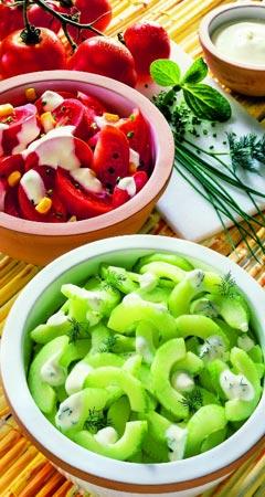 Rezepte für Gurkensalat und Tomatensalat
