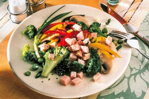 Mittagessen - Mariniertes Gemüse mit Putenbrust