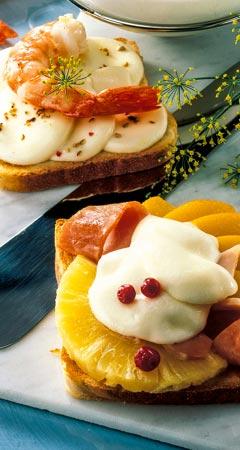 Abendessen - Früchte-Toast mit Mozzarella