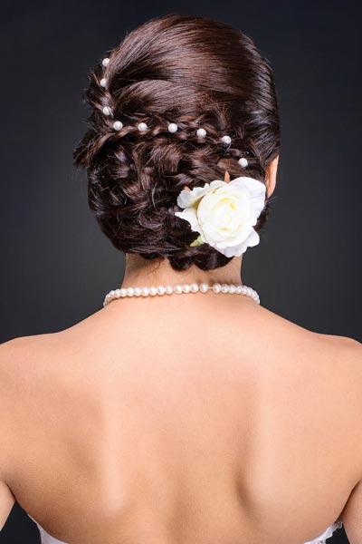 Haarschmuck für Braut und Hochzeit - Curlies mit Perlen und Rosenblüte