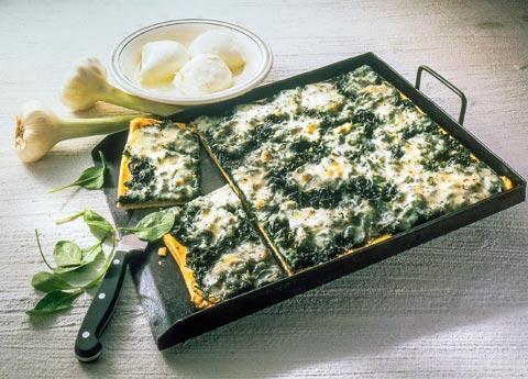 Pizza Rezept für vegetarische Pizza mit Spinat – Spinat-Pizza