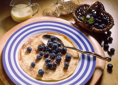 Buttermilch-Diät - 5. Tag: Mittagessen - Pfannkuchen mit Heidelbeeren