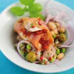 weiter zu leichte Rezepte - Fischrouladen mit Bohnensalat