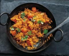 Rezepte vegetarisch: Pilaw mit Möhren und Kürbis