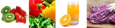 Obst, Früchte und Gemüse mit Vitamin C