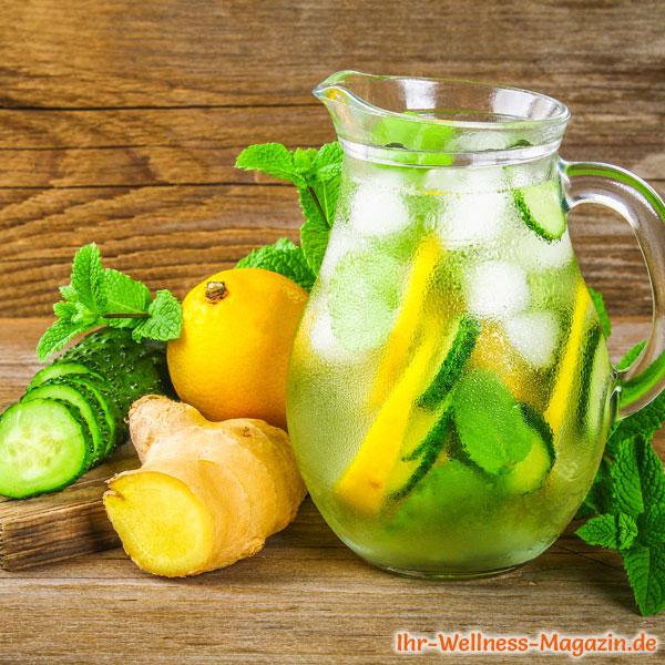 Zitronenwasser Gurke und Minze zum Abnehmen