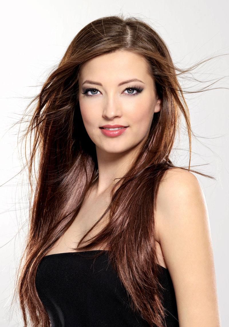 Braune lange Haare - Frisurenbilder