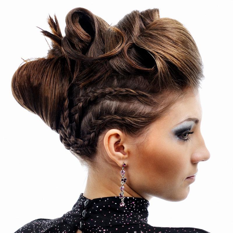Extravagante Flecht Hochsteckfrisur Braune Lange Haare