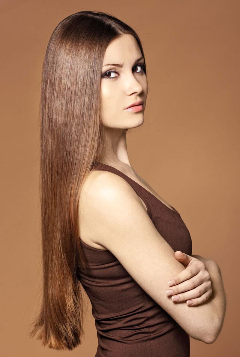 Glatte haare lange stufenschnitt Lange Haare