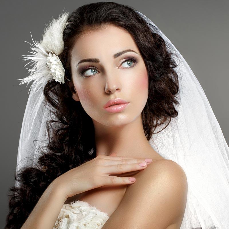 Dunkle Locken Mit Schleier Hochzeitsfrisuren Brautfrisuren Mit