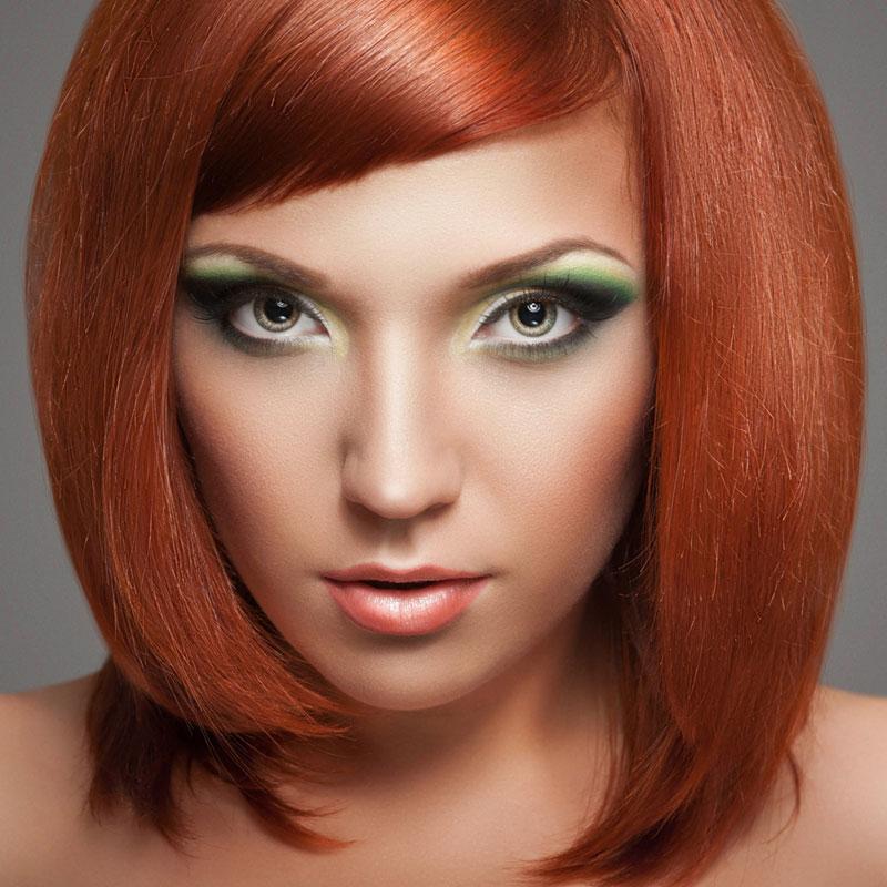 Prächtig Asymetrischer Bob-Cut für rote Haare und grüne Augen | Rote Haare &IT_03