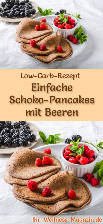 einfache low carb schoko pancakes mit beeren fr hst ck. Black Bedroom Furniture Sets. Home Design Ideas