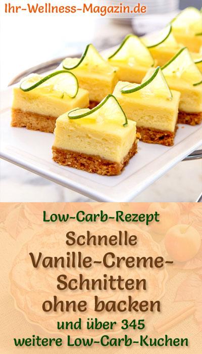 schnelle low carb vanille creme schnitten ohne backen rezept. Black Bedroom Furniture Sets. Home Design Ideas