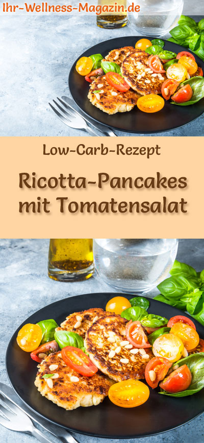 low carb ricotta pancakes mit tomatensalat herzhaftes pfannkuchen rezept. Black Bedroom Furniture Sets. Home Design Ideas