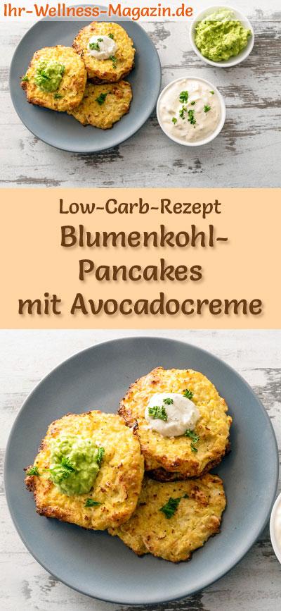 low carb blumenkohl pancakes mit avocadocreme und quark herzhaftes pfannkuchen rezept. Black Bedroom Furniture Sets. Home Design Ideas