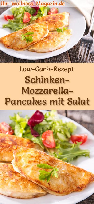 low carb schinken mozzarella pancakes mit salat herzhaftes pfannkuchen rezept. Black Bedroom Furniture Sets. Home Design Ideas
