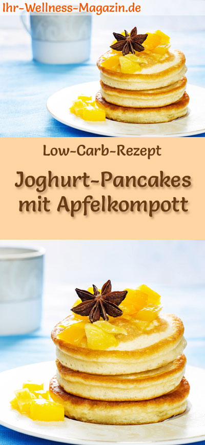 low carb joghurt pancakes mit apfelkompott s es pfannkuchen rezept. Black Bedroom Furniture Sets. Home Design Ideas