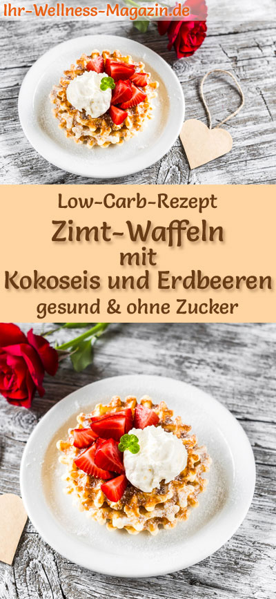 low carb zimt waffeln mit kokoseis und erdbeeren s es waffel rezept. Black Bedroom Furniture Sets. Home Design Ideas