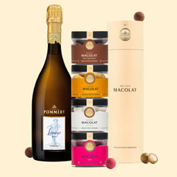 Pommery les Cuves Louise mit Macolat Milk Chocolate u. a.
